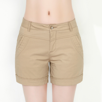 Maya di suit summer Slimming effect casual cotton black shorts(Khaki)