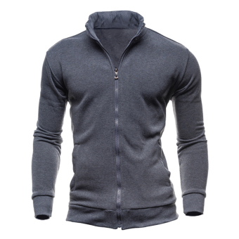 Harga Men Casual Solid Color Cotton Jacket (Dark Grey)