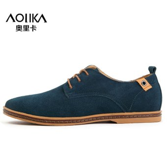 Men shoes 2017 New suede leather fashion winter (Day blue)