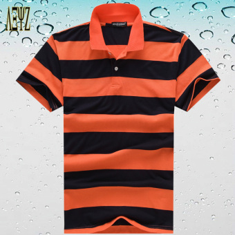 Men Slim fit loose youth polo shirt Striped short-sleeved Collar T-shirt