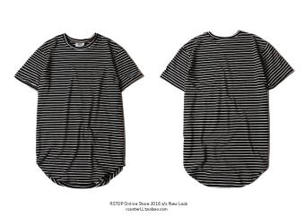 Men striped bottoming arc hem tide solid color short-sleeved t-shirt (Black stripes)
