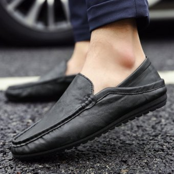 Men's Leather Fashion Loafer Shoes Casual Driving Shoes Black