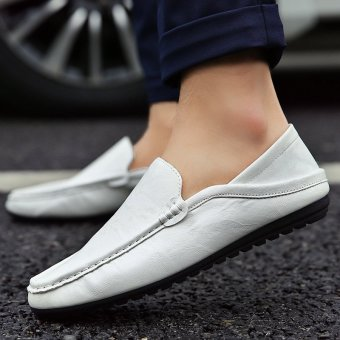Men's Leather Fashion Loafer Shoes Casual Driving Shoes White