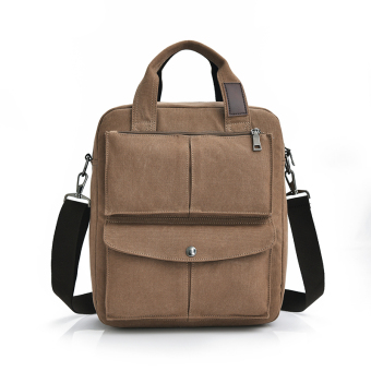 Harga Men's man bag multi-purpose vertical section canvas (Coffee color)