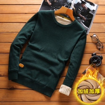 Men's warm Slim fit knit shirt winter sweater (Dark green Plus Velvet)