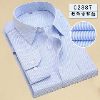 Men's Long Sleeve Striped Printed Business Shirt (Blue) - intl