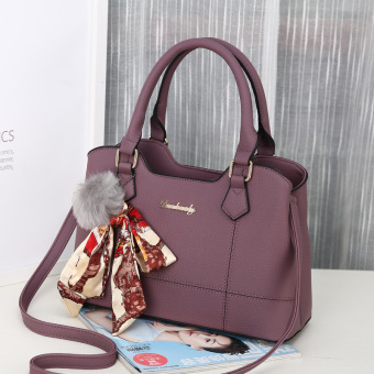 Harga Mini European and American New style small hair ball handbag female bag (Yan Yun women's bag purple)