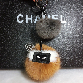 Mink fox hair ball small monster fox hair ball bag pendant (Camel)