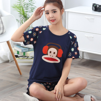 Harga MM cute Female Summer Cotton Short sleeved women's tracksuit pajamas (075 women short sleeve monkey headphones) (075 women short sleeve monkey headphones)