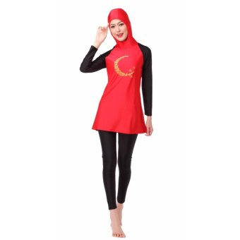 Ms new Muslim swimsuits conservative swimsuit beach bathing suitsRed - intl