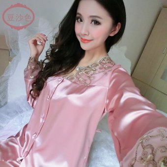 Ms. pajamas two piece set spring and summer thin section longsleeved silk pajamas women tracksuit silk cute sexy summer (1098bean paste)