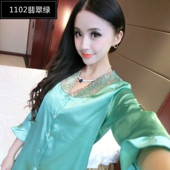 Ms. pajamas two piece set spring and summer thin section longsleeved silk pajamas women tracksuit silk cute sexy summer (1102emerald green)