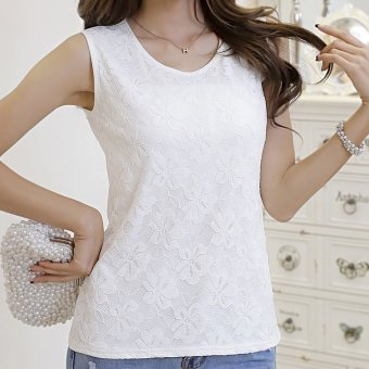 MSK Women's Slim Fit Lace Sleeveless Tank Top - White (138 white)