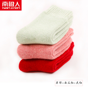 Nan Ji Ren female thick winter tube curled wool socks (Fruit green + watermelon red + red color)