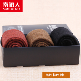 Nan Ji Ren female winter thick warm thick socks wool socks (Wine red black brown)