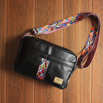 National Wind woven with flowers small bag New style shoulder bag (Black)