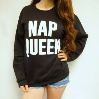 NEW nap QUEEN letters printed in europe and america wind loose casual pullover sweater ladies long sleeve women's student (Black)