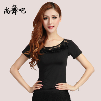 New style ballroom dance Top embroidered Top (Black)