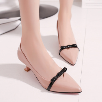 New style Butterfly knot fine with Korean-style patent leathershoes high-heeled shoes (Pink color) (Pink color)