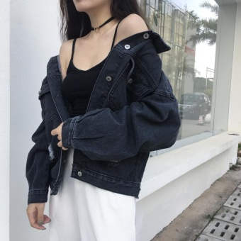 New style denim jacket Women's loose spring and autumn wild Korean-style tide student black Top Plus-sized long-sleeved jacket tide