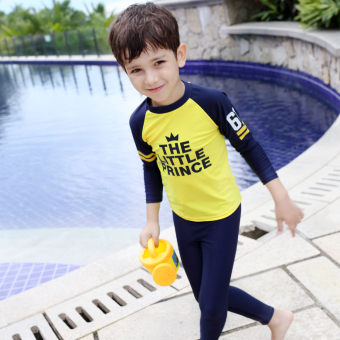 New Style Large children swimming clothes boys long-sleeved pantssunscreen split quick-drying girls long-sleeved children's swimsuit(Long leg pants male models (16D03))