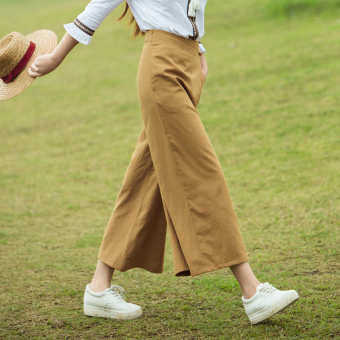 Harga New style loose nine points feet tide Cool linen wide leg pants (Ginger yellow)
