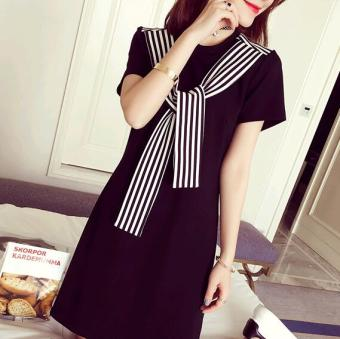 New style loose striped lace Slimming effect student short-sleevedt-shirt (Black)