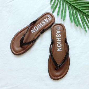 New style non-slip letters student flip sandals drag (Brown) (Brown)
