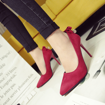 New style Spring and Autumn 10cm pointed high-heeled shoes (Wine red color)