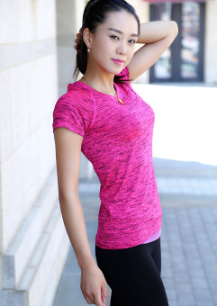 New style summer female quick-drying T-shirt (Rose color)