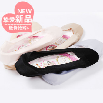 New summer korean solid ice silk seamless breathable and comfortable plus cotton anti slip silicone invisible shallow mouth socks (Light gray)