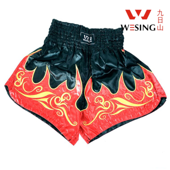 Nine suns mountain Sanda fighting Muay Thai boxing shorts Muay Thai pants (Red and white)