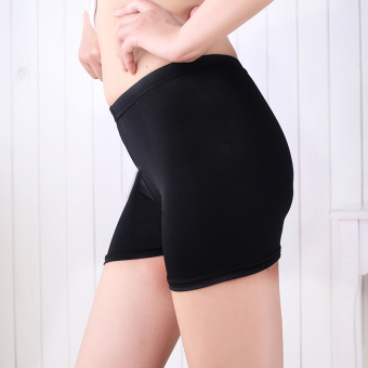 Outer wear thin section Plus-sized insurance lace Safety pants bottoming pants (Three minutes flat-black)