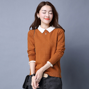 Peter Pan collar slimming base shirt LOOESN knitted shirt (Coffee color)