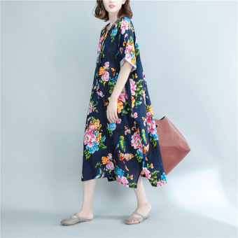 Harga Plus-sized New style national wind Print Linen dress gown