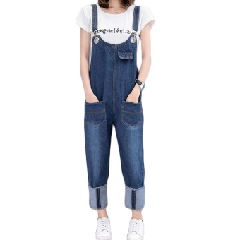Harga Plus-sized Women's summer Korean-style fat mm high waist curling denim overalls female student piece HarLan pants 200 kg