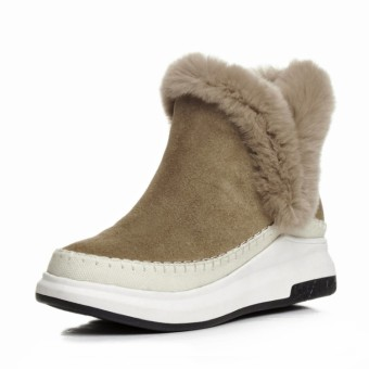 Plus velvet female winter warm rabbit fur snow boots cotton boots (Plus Velvet + Brown)