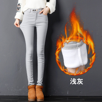 Plus velvet outerwear female winter pants leggings (Light gray color)