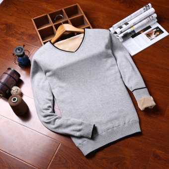 Plus velvet student v-neck sweater men's sweater (V-neck paragraph light gray color)