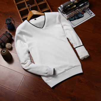 Plus velvet student v-neck sweater men's sweater (V-neck paragraph white)