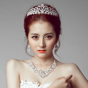 Poetry Ka Na bride CROWN necklace earrings three pieces suitheaddress Korean wedding jewelry hair accessories WeddingAccessories (Necklace + ear clip)