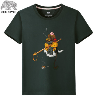 Popular brand men monkey printed T-shirt (Blackish green (somersault monkey)) (Blackish green (somersault monkey))