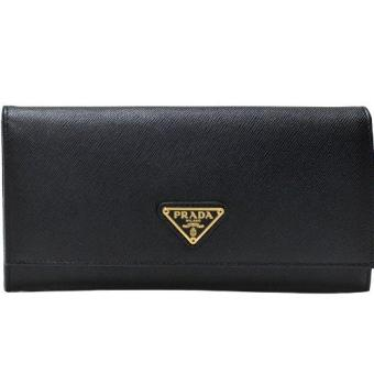 Prada Nero Saffiano Triangle Continental Wallet