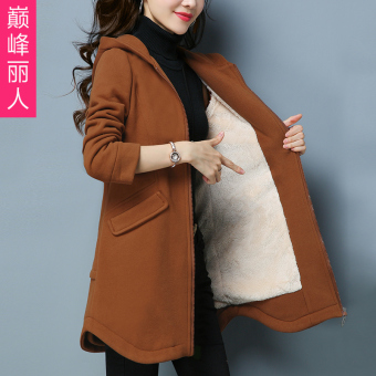 Qiudong Korean-style Plus velvet medium-length models hoodie thick hoodie (Camel)