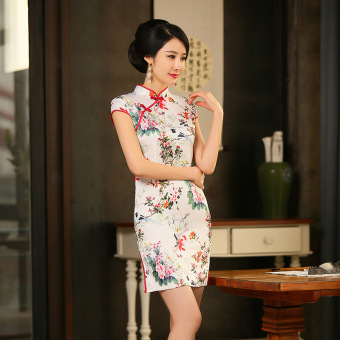 Retro silk New style Slim fit cheongsam dress (04 No.)