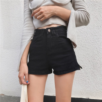 Retro style New Style High waisted Slim fit Slimming effect shortsKorean-style chic student wild slit a word shorts casual pants(Black)