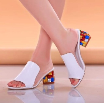 Rhinestone Heels Women Sandals Shoes Open Toe Wedge Shoes -White - intl