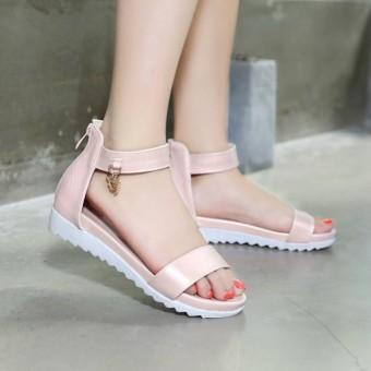 Rome summer shoes 9 10 11 12 13 14 15 16 years old big boy littlegirl junior high school students sandals (Pink)