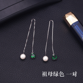 S925 sterling silver anti-allergic Korean temperament simple long section Cool tide network red pearl earrings ear wire female (Emerald green a pair of)