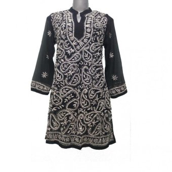 Sawan Selection Indian Lucknowi Black and White GeorgetteEmbroidered Kurti